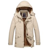 加绒外套男新款保暖冬衣中长款连帽加厚风衣男纯棉夹克