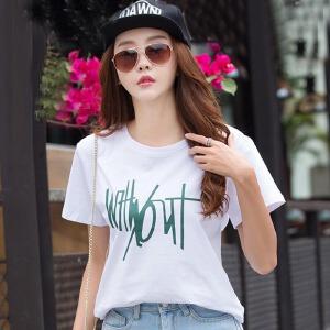 短袖T恤女夏季韩范宽松印花圆领短袖体恤衫新款棉质女上衣