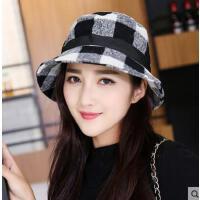 双面可戴遮阳帽时尚格子盆帽子户外出游帽运动爬山帽女防晒棉帽子