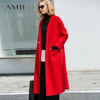 【折后价:952元/再叠400-60元券】Amii极简欧美风流行潮100%羊毛双面呢外套女2018冬新拉链长款大衣