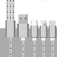 爱易思 E639三合一快充数据线编织充电线适用于iPhone6s/7p小米5s乐视2华为p10 钛空灰