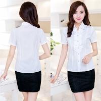 特价2016夏新款韩版OL职业装女士短袖白色衬衣翻领荷叶边时尚衬衫