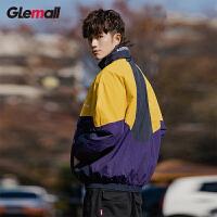 潮牌GLEMALL【轻薄防风】抗皱色块拼接宽松运动潮酷街头男士外套