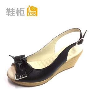 达芙妮旗下SHOEBOX/鞋柜坡跟时尚舒适时装女凉鞋