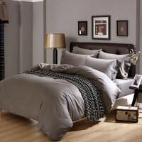 酒店床上用品纯棉四件套纯色简约棉床单被套宾馆床品素色4件套