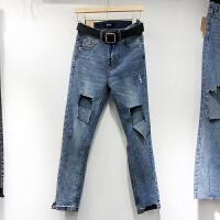 韩国ulzzang2018春装新款个性磨破洞直筒长裤女蓝色高腰牛仔裤潮