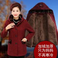 妈妈装毛呢外套中长款中老年女冬装加绒呢子大衣盘花40岁50中年人