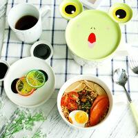 日式卡通大号泡面碗带盖双耳陶瓷碗可爱学生饭碗大碗汤碗餐具套装