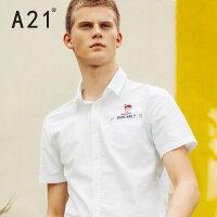 A21休闲男士白衬衫夏季个性印花短袖衬衣潮青年男装寸衫
