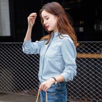 BRIOSO 女士牛仔衬衫 秋装新款纯色牛仔衬衣韩版百搭休闲学生上衣外套 WE20395-1