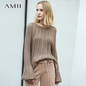 【品牌团 1件7折/2件5折】Amii浪漫风绑带毛针织衫女2018春装新款直筒圆领上衣
