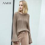 Amii极简慵懒风通勤针织衫女2018秋新款喇叭袖宽松薄纯色套头毛衣.