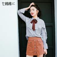 七格格时尚荷叶边长袖百搭新款女装春装韩版学生宽松蝴蝶结蓝色衬衫