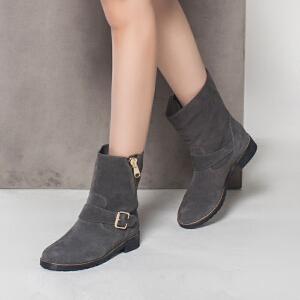 达芙妮集团鞋柜时尚舒适侧拉链圆头皮带扣女短靴-1