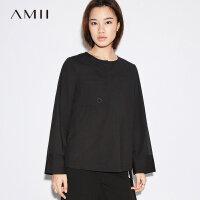 【3折价:101元再叠优惠券】Amii简洁口袋半开襟镂空环饰衬衫秋新圆领上衣