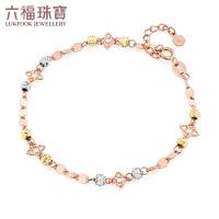 六福珠宝彩金手链守护星18K金手链女三色金手链定价L18TBKB0032C