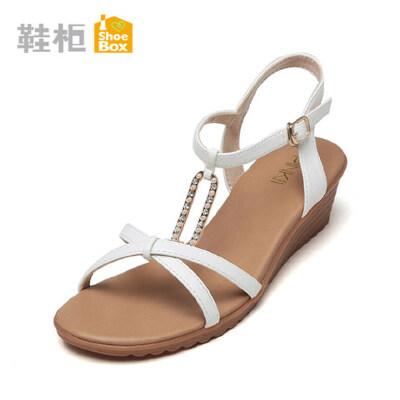 达芙妮旗下shoebox鞋柜简约平底凉鞋夏水钻坡跟中跟扣带女鞋