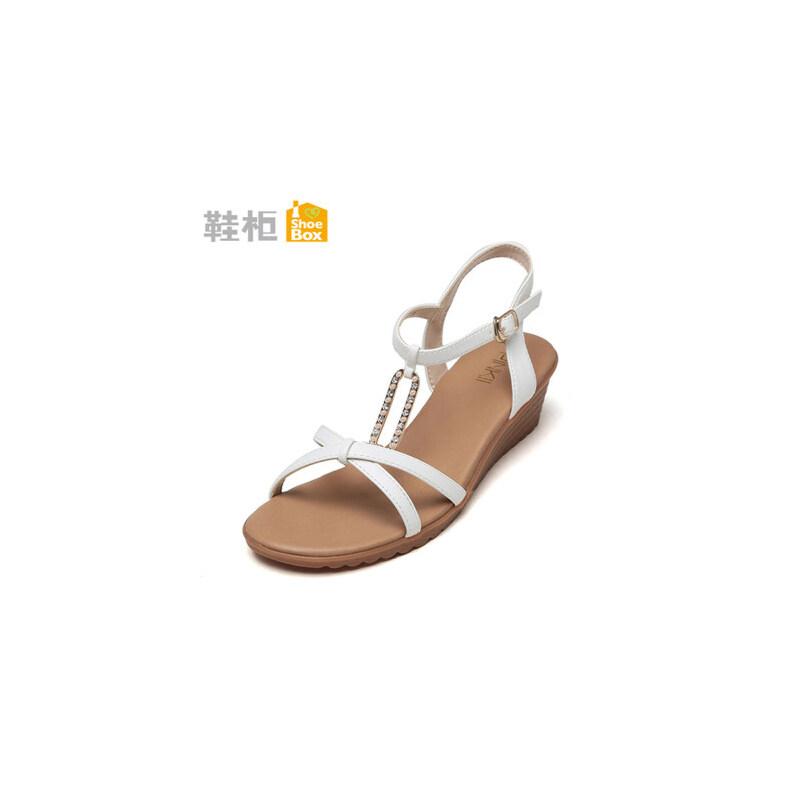 达芙妮集团 鞋柜简约平底凉鞋夏水钻坡跟中跟扣带女鞋-6断码不补货 正品保证 支持专柜验货