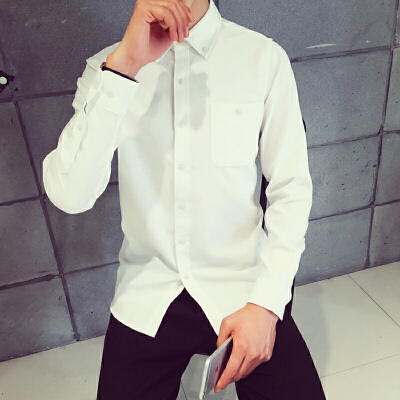 韩观春秋纯色长袖衬衫外套男士大码棉衬衣休闲打底寸衫韩版青少年衣服