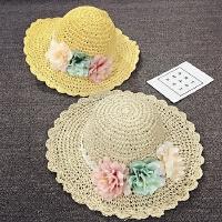 儿童草帽夏天女童沙滩帽大沿帽遮阳帽手工太阳帽宝宝帽子渡假韩版