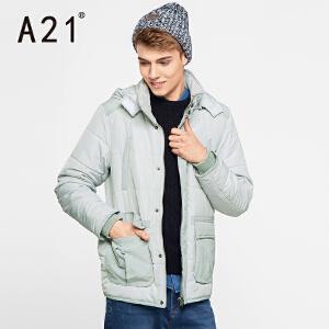 以纯A21可拆卸帽棉衣男 纯色男装新品舒适保暖外套冬装休闲时尚衣服