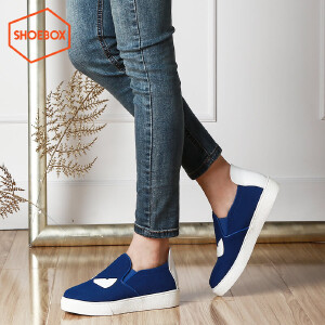 SHOEBOX/鞋柜新款布鞋休闲鞋 圆头平底套脚女鞋懒人鞋