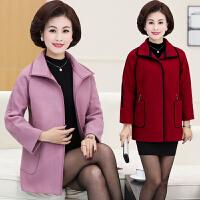 中老年人女装秋冬装毛呢外套40-50岁时尚妈妈装大码宽松毛呢大衣