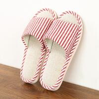 夏天室内条纹拖鞋男居家布艺鞋子日式家居亚麻拖鞋女