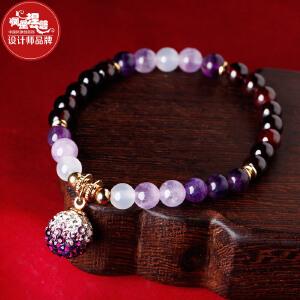 凤凰涅磐简约民族风时尚酒红石榴石紫水晶手串女手工首饰品