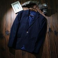 剪标男装商务休闲男士单西外套秋冬西服时尚含羊毛呢上衣 藏蓝色