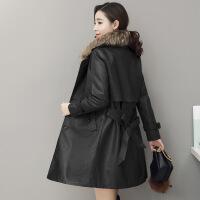 冬季新款中长款女士皮衣休闲外套风衣真毛领韩版机车潮