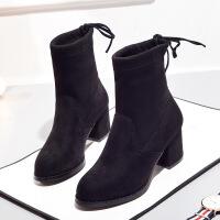 2017秋冬新款女靴粗跟高跟短靴加绒百搭棉靴女士靴子切尔西裸靴 黑色加绒