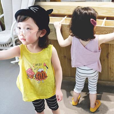 童装女童背心夏季小童衣服1-3-6岁宝宝吊带上衣潮 尺寸请联系客服是否有现货