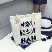 韩版女单肩帆布包手提大容量ins简约百搭学生文艺小清新购物袋子 其他