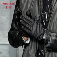 卡蒙触屏半皮手套男秋季摩托车骑行手套冬天保暖羊皮户外五指手套 2829