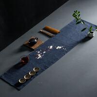茶席麻布禅意布艺中式桌旗手工刺绣桌布棉麻茶巾干泡席茶壶茶杯垫