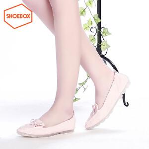 SHOEBOX/鞋柜韩版尖头小清新蝴蝶女鞋结柔软舒适单鞋