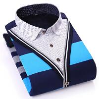 男士加绒保暖衬衫假两件长袖内衣修身休闲加厚针织衫毛衣套头衬衣