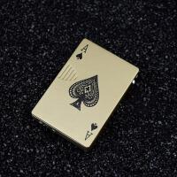 创意个性金属全铜扑克牌打火机充气防风电子打火机礼品恶搞潮男女 红色 单独打火机