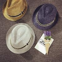 儿童草帽男夏天女童沙滩帽小礼帽遮阳帽宝宝帽子韩版金银线可折叠