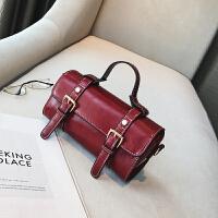欧美时尚复古迷你小波士顿手提包夏季新款休闲斜挎小包包女包 红色