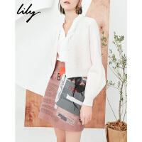 【25折到手价:139.75元】 Lily春新款女装纯色条纹针织开衫宽松短款针织衫118110B3702