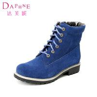Daphne/达芙妮冬款短靴 低方跟磨砂系带马丁靴1014605259