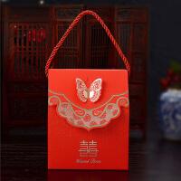 结婚喜糖盒子创意婚庆用品喜糖袋中式婚礼糖果盒 烫金蝴蝶糖盒
