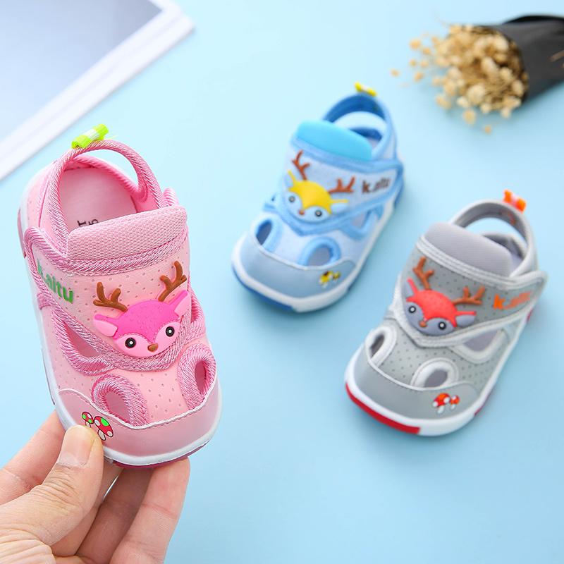 婴儿凉鞋女0-1-2岁防滑软底小宝宝夏季学步鞋子男童布凉鞋