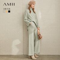 【到手价:166元】Amii极简韩版慵懒风时尚两件套女2019冬季新款高领毛衣阔腿九分裤