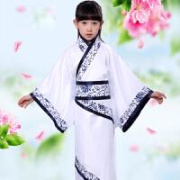 女童汉服曲裾小孩青花瓷三绕曲裾民族风 儿童古装写真服古装演出服 三绕曲裾
