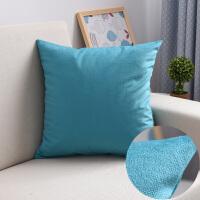 床头靠背纯色大抱枕套沙发靠垫套腰枕含芯靠枕护腰枕靠背套 湖蓝色 新款圈绒青
