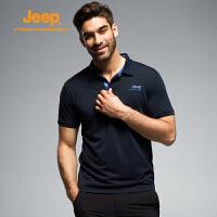 【特惠价】Jeep/吉普 男士夏季速干透气吸湿排汗短袖T恤经典休闲翻领polo衫