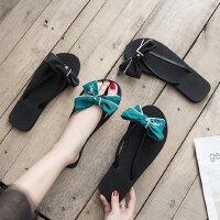 新款蝴蝶结女士人字拖 时尚外穿凉拖鞋女 韩版平底防滑度假沙滩鞋女